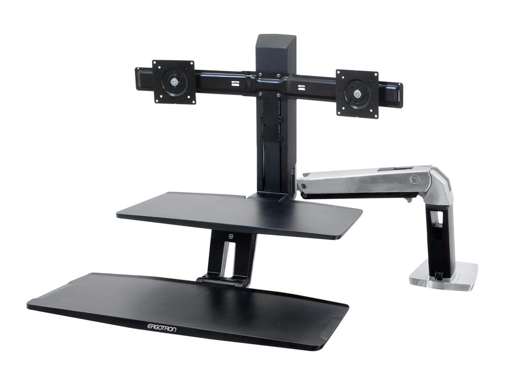 Ergotron WorkFit a dual monitor with suspended keyboard no screens