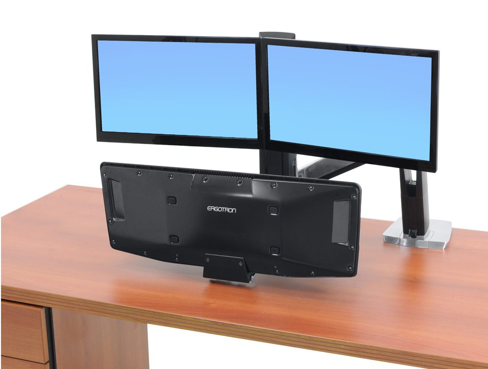 Ergotron WorkFit a dual monitor with suspended keyboard