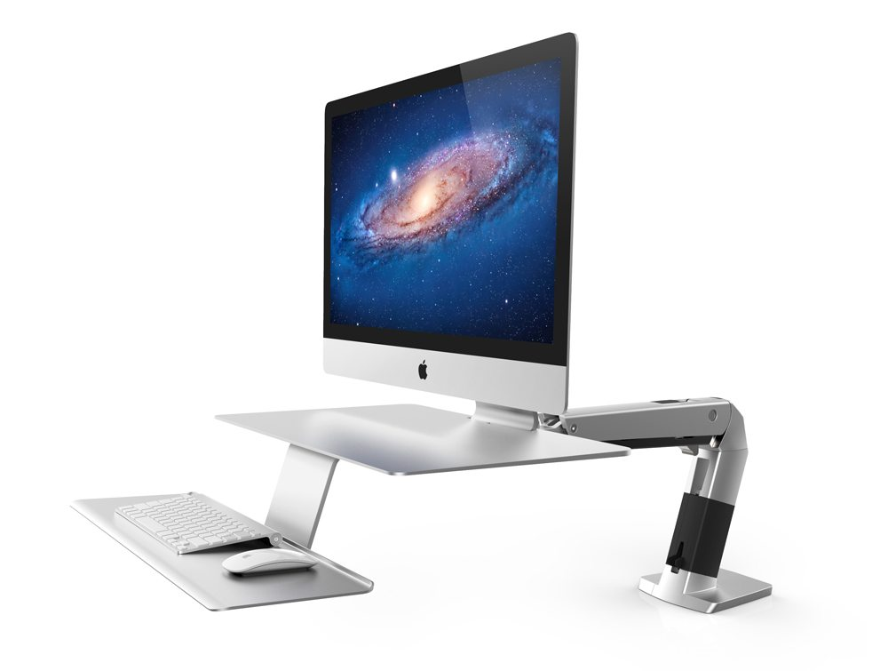Ergotron WorkFit A Sit Stand workstation for apple side angle