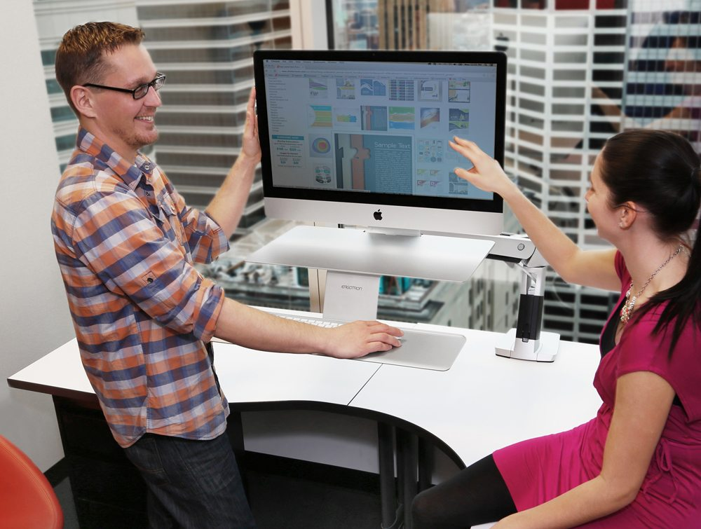 Ergotron WorkFit A Sit Stand workstation for apple with 2 users