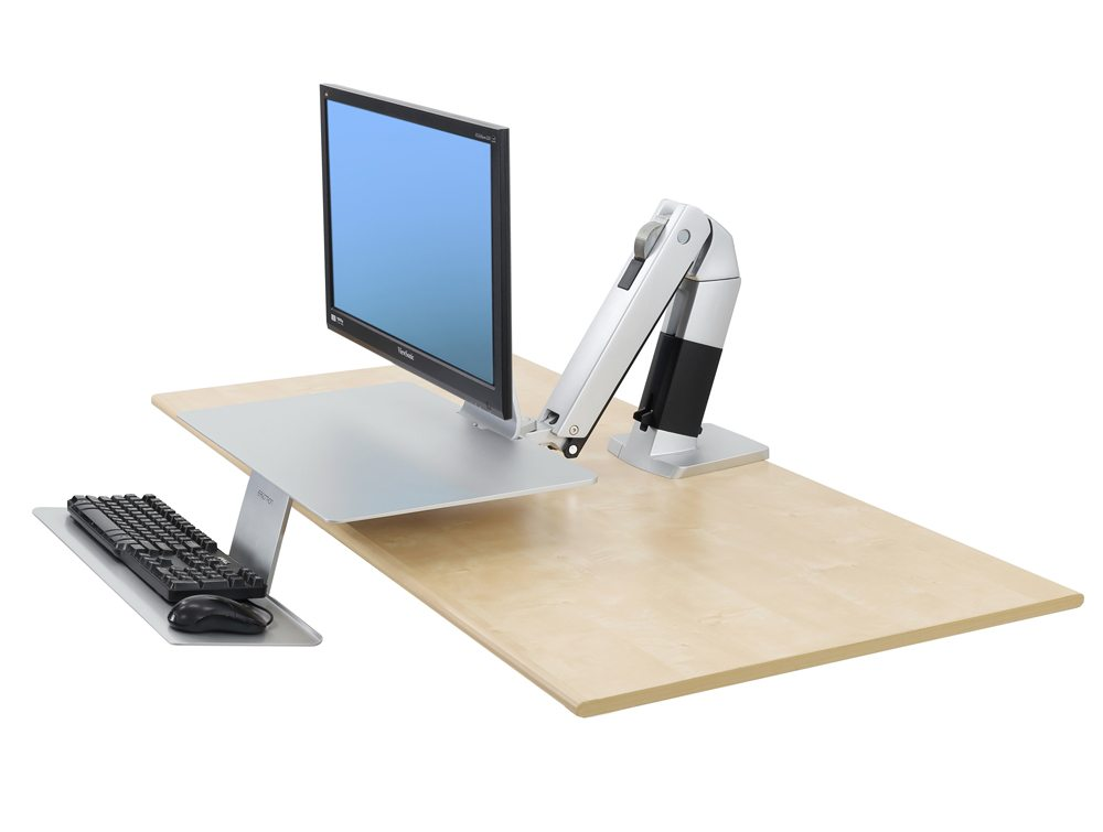 Ergotron WorkFit A single HD with suspended keyboard side angle