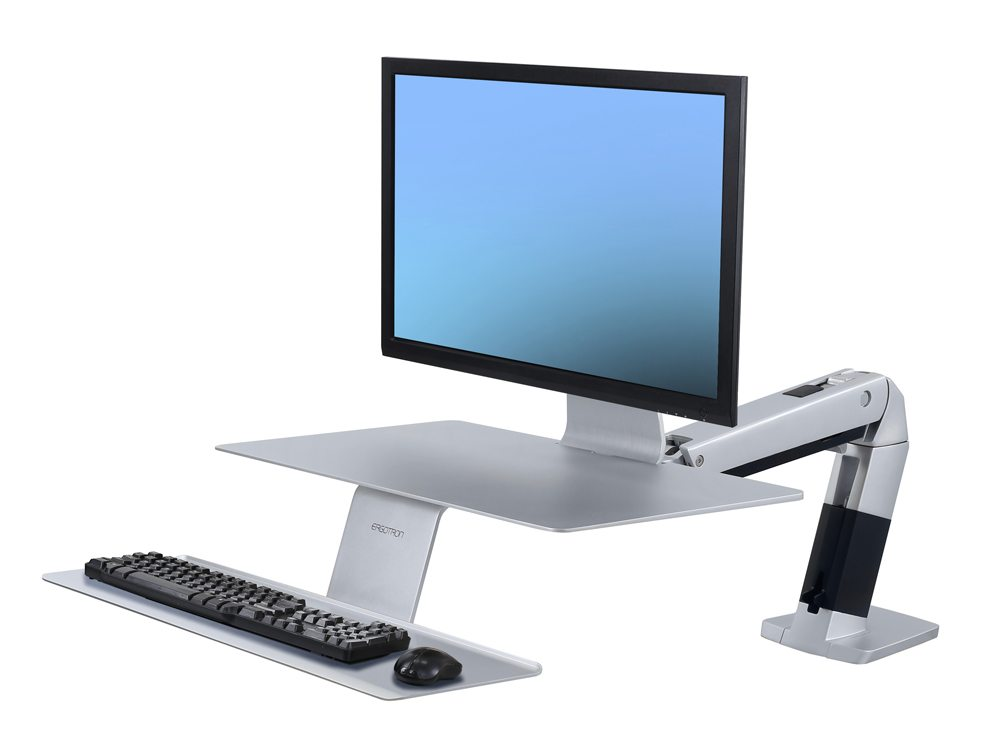 Ergotron WorkFit A with Suspended Keyboard in Platinum