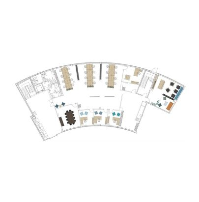 2D General Layout Arched Office Space