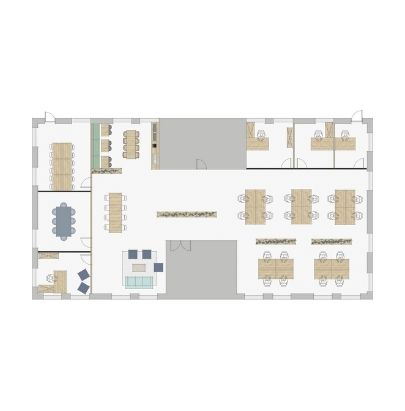 2D General Layout Open Plan Office Space
