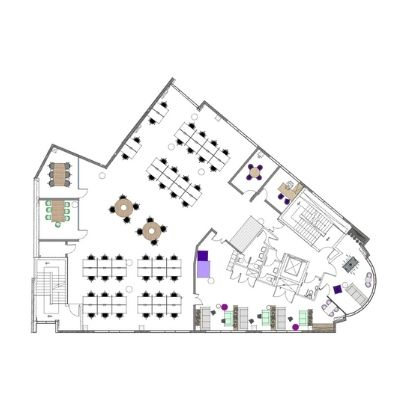 2D General Layout Radial Office Space