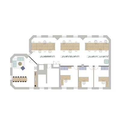 2D General Layout Rectangular Office Space