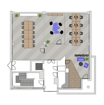 2D General Layout Square Office Space