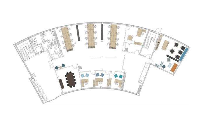 2D Layout Arched Office Space