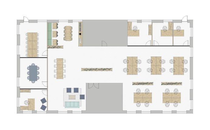 2D Layout Open Plan Office Space