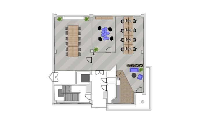 2D Layout Square Office Space