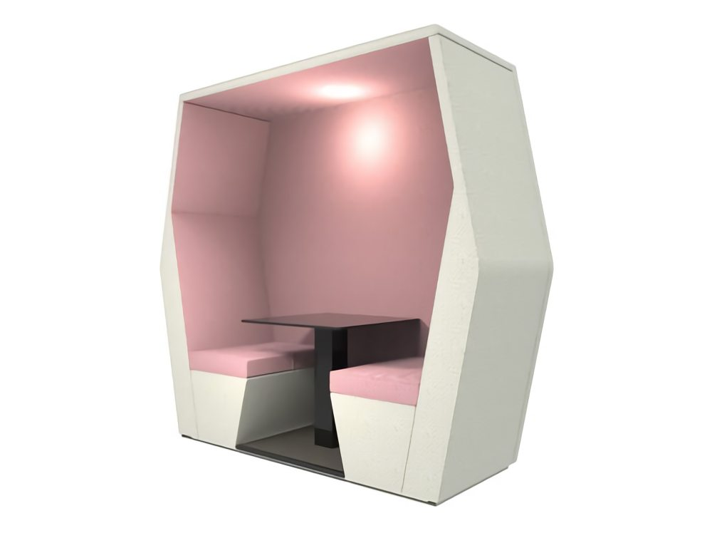 Bill 2 seater meeting den in pink colour with wall and overhead LED light