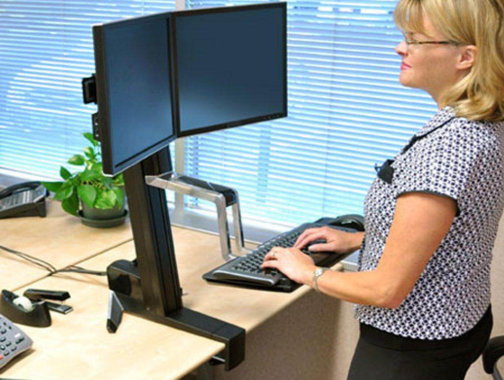 Ergotron WorkFit S dual monitor Sit Stand workstation