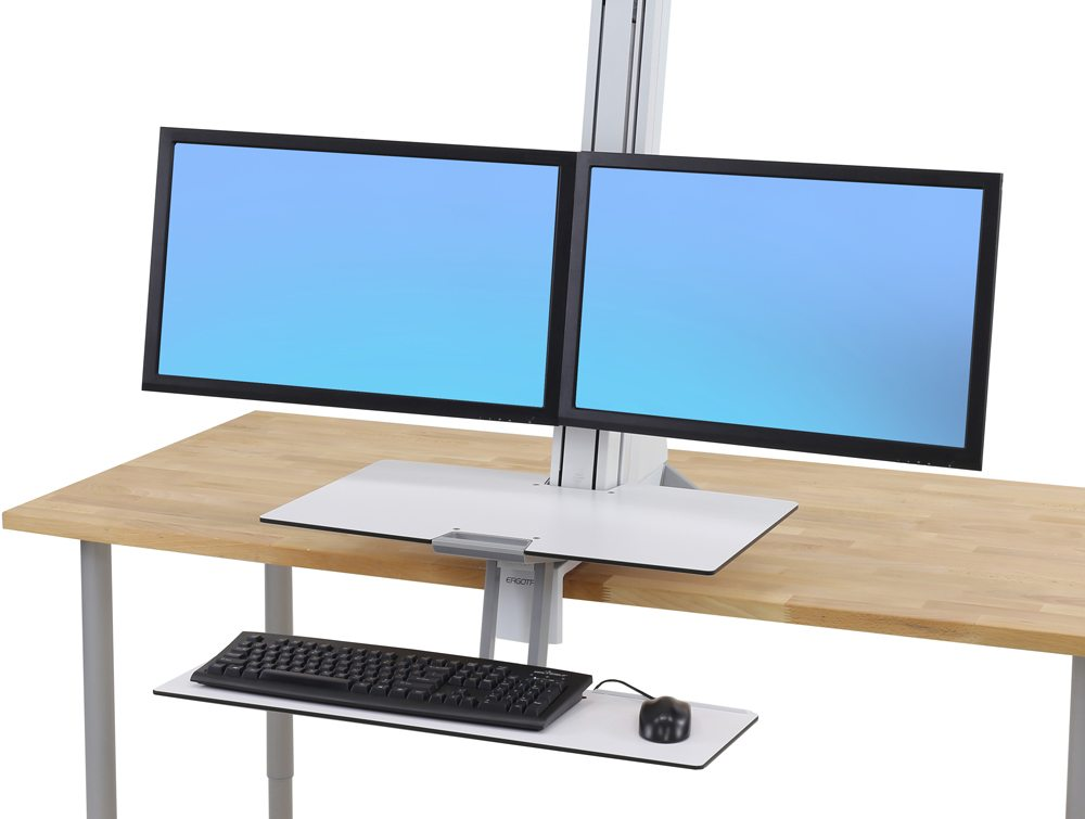 Ergotron WorkFit S dual monitor with worksurface