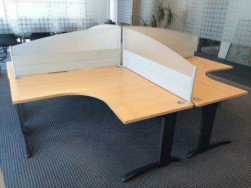 4 Workstations with Desks and Partitions