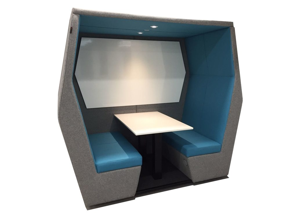 Bill 4 seater meeting pod with wall and overhead LED light