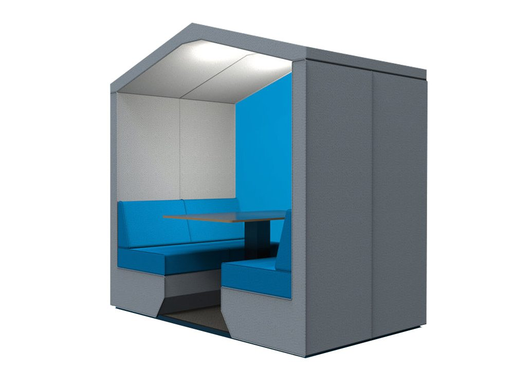 Bea Roofed 4 Seat Meeting Pod Blue Wall with Overhead Led Lights