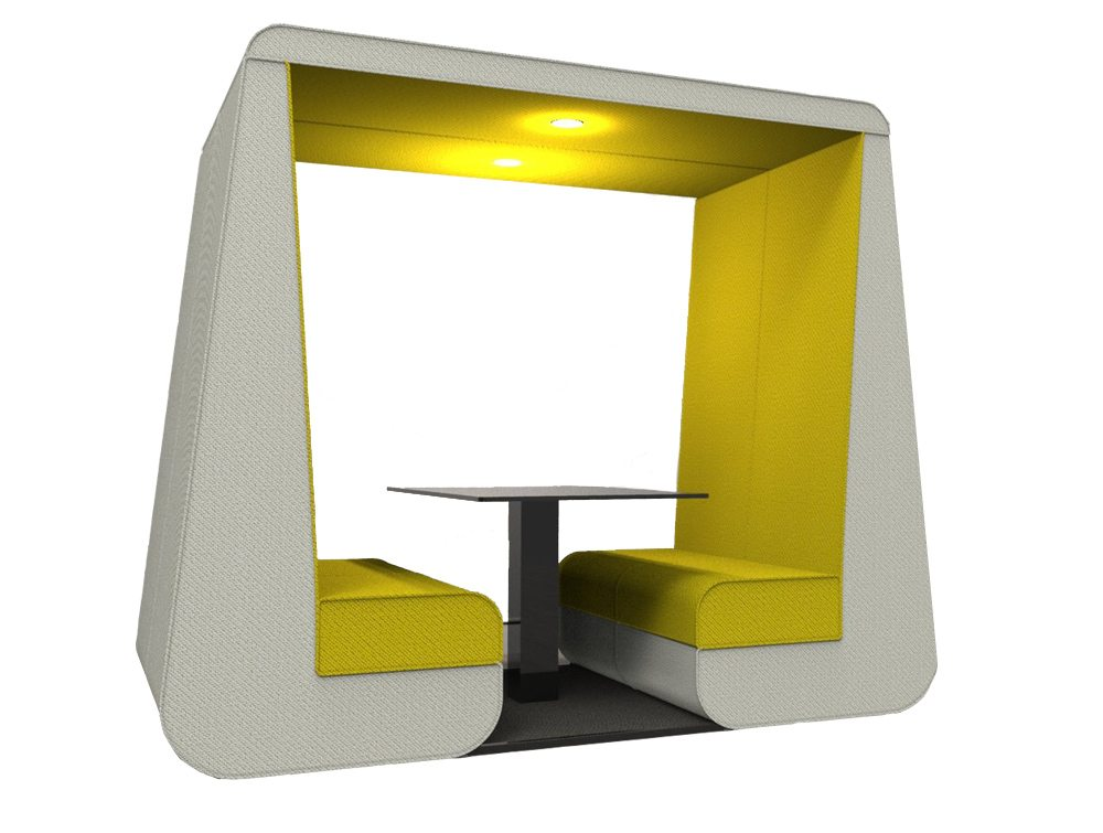 Bob 4 seat stylish meeting den in yellow colour and overhead led lights without Wall