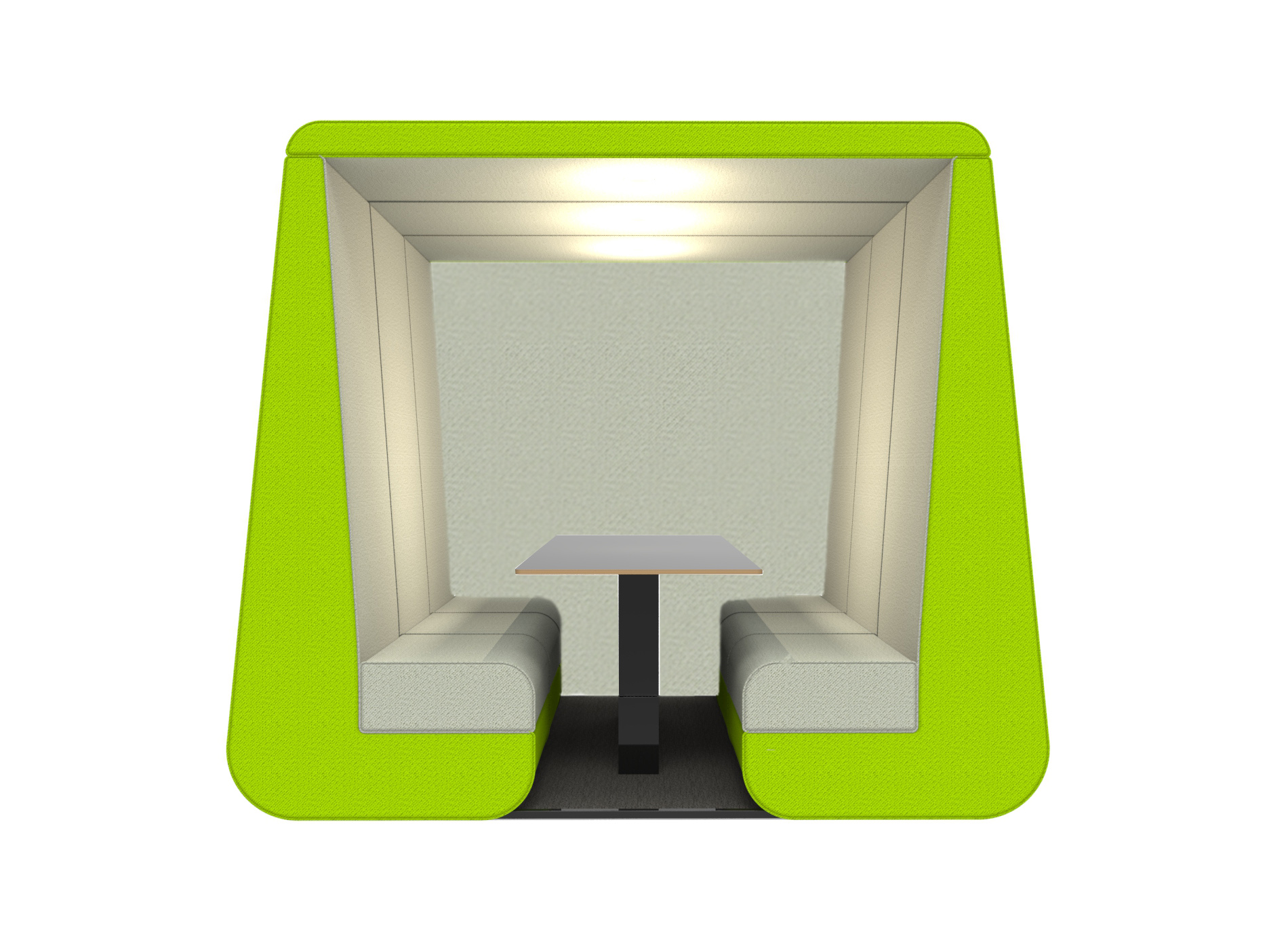 Bob 6 seat meeting pod with wall in green colour and overhead led lights