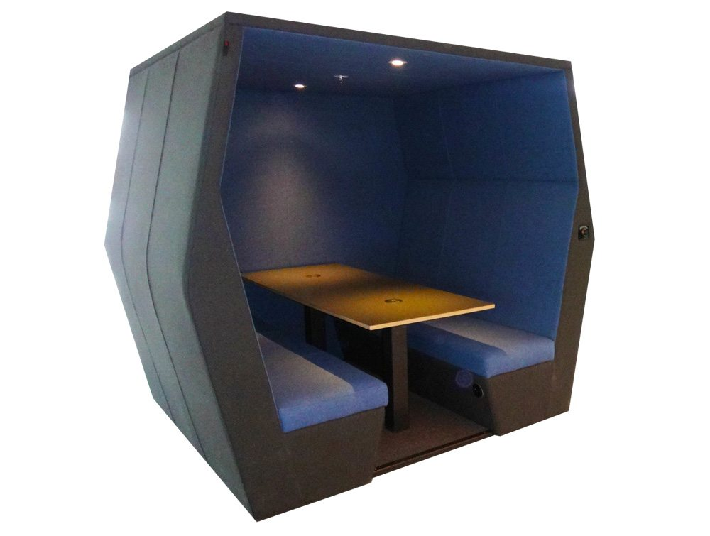 Bill 6 seater meeting den in blue colour with wall and overhead LED light