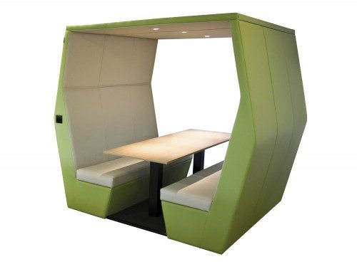Bill 6 seater meeting pod without wall in funky green colour