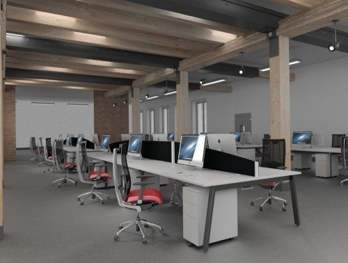 A-Frame Leg Switch Desks with Red Office Chairs and Kito Metal Pedestals