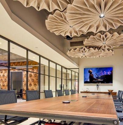 Acoustic Celing Lighting in Meeting Room