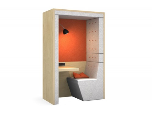 Acoustic-Phone-Booth-with-Seating-and-Desk-Orange-and-Grey-with-Cushion
