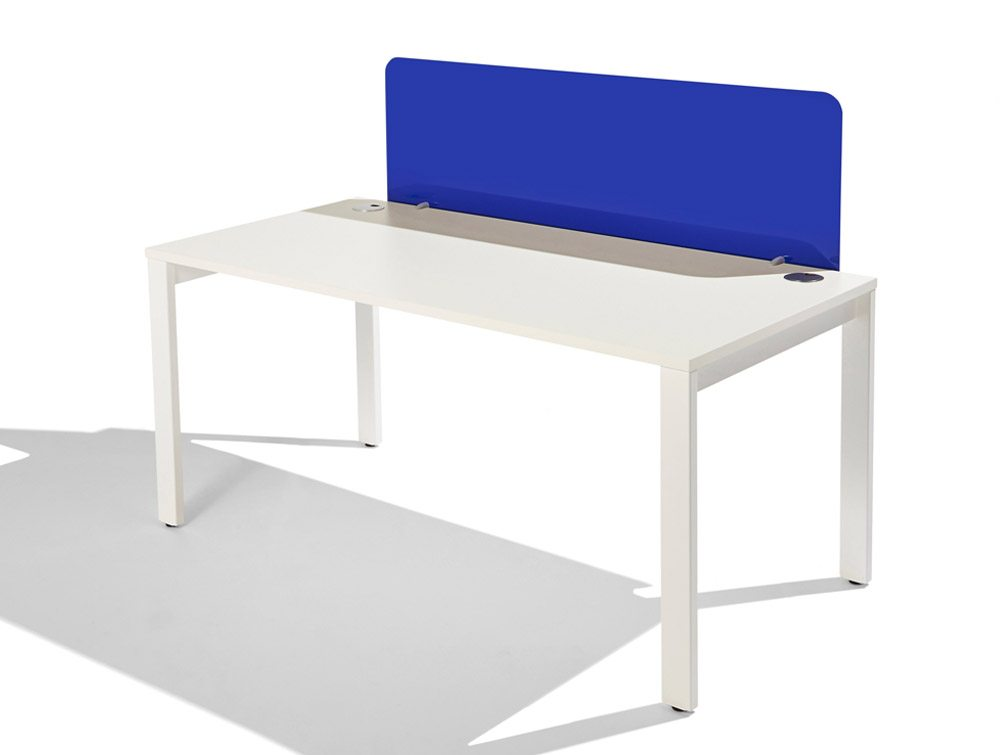 Acrylic Straight Desk Screen in Blue