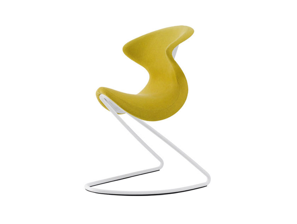 Aeris Oyo Ergonomic Conference and Visitor Chair - Felt - Sunny Yellow - White Base