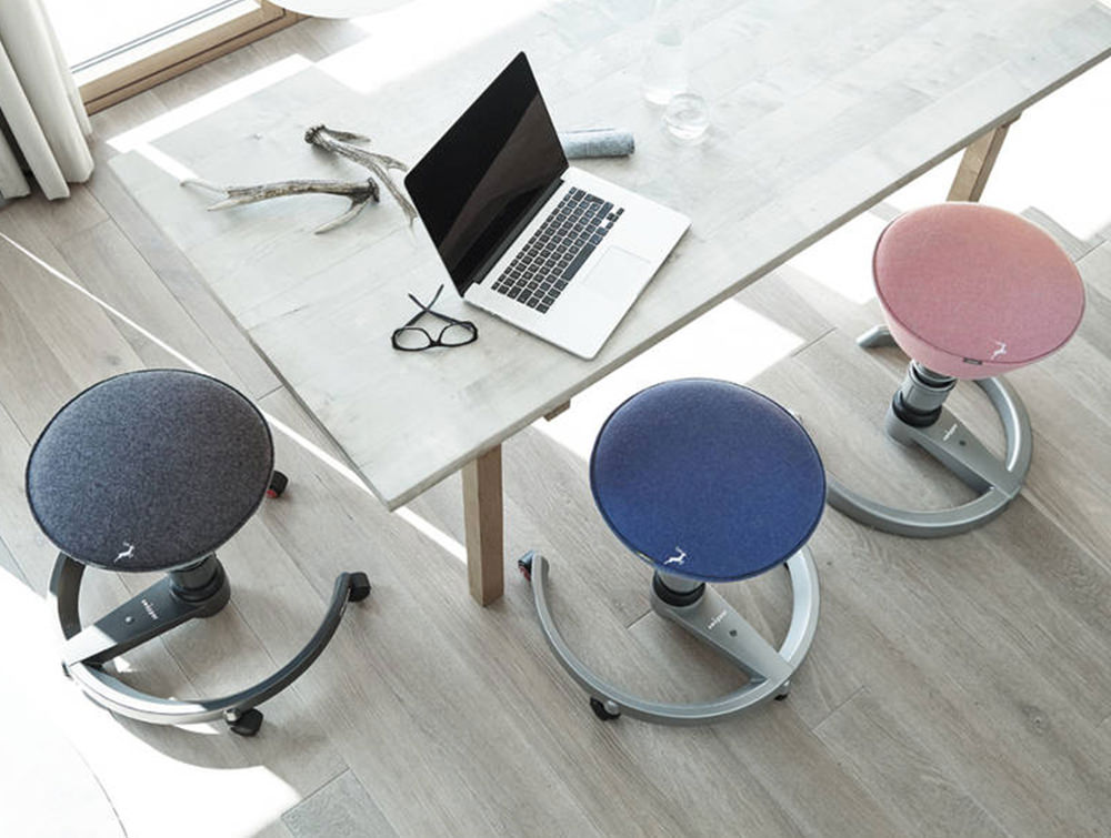 Aeris-Swopper-Ergonomic-Office-Chairs-with-Grey-Blue-and-Pink-Upholstered-Seats