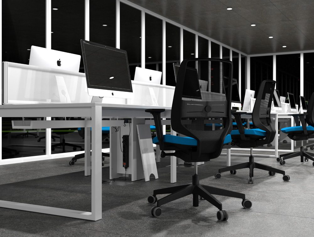All White Bench Desks and Screens with Closed Legs and Blue Chairs