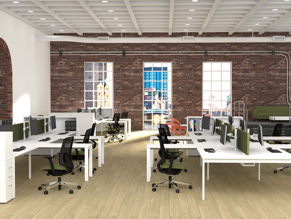 All White Office Desks with Straight Legs and Matching Pedestals