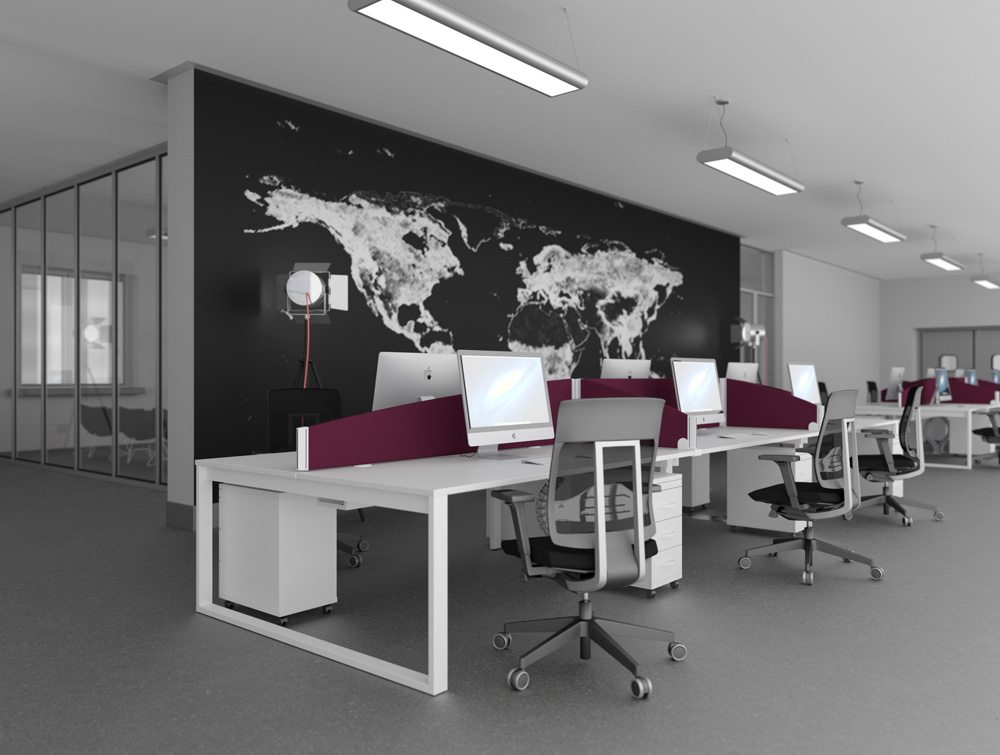 All White Switch Desks with Burgundy Desk Mounted Screens and Matching Chairs