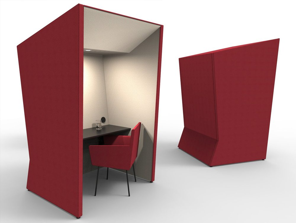Anders work booth in red color with chair and overhead led light