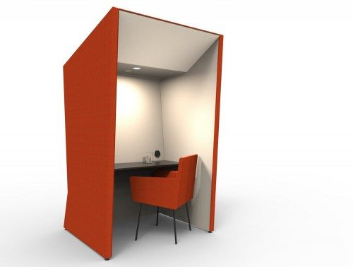 Anders work booth in tangy orange color with chair and overhead led light