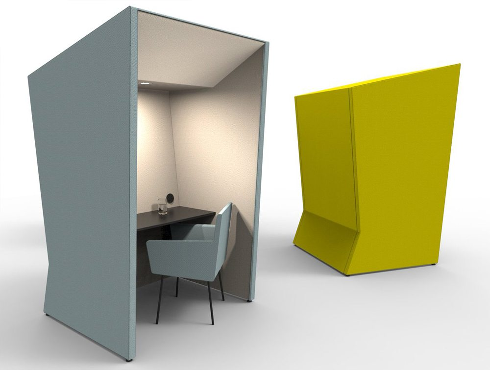 Anders Work Booths In Navy Blue And Yellow
