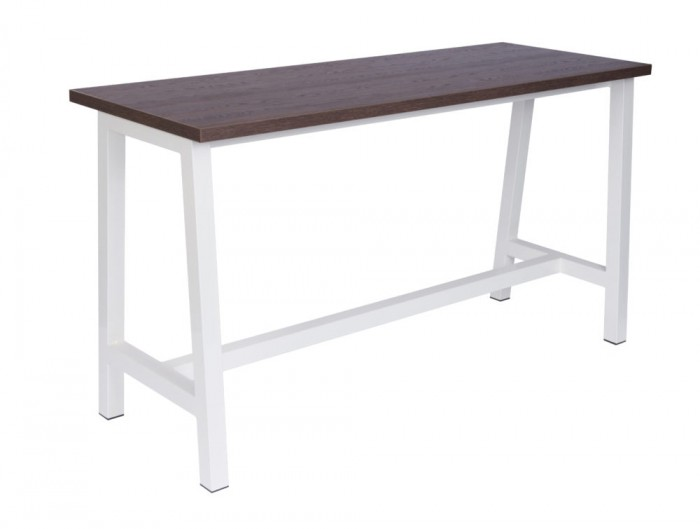 Apex Canteen Poseur High Table with White Frame and Walnut Top