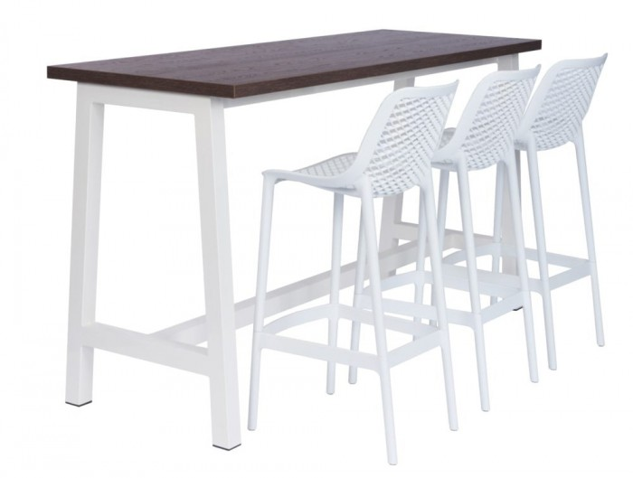 Apex Canteen Poseur Table with High Stool Chairs in White