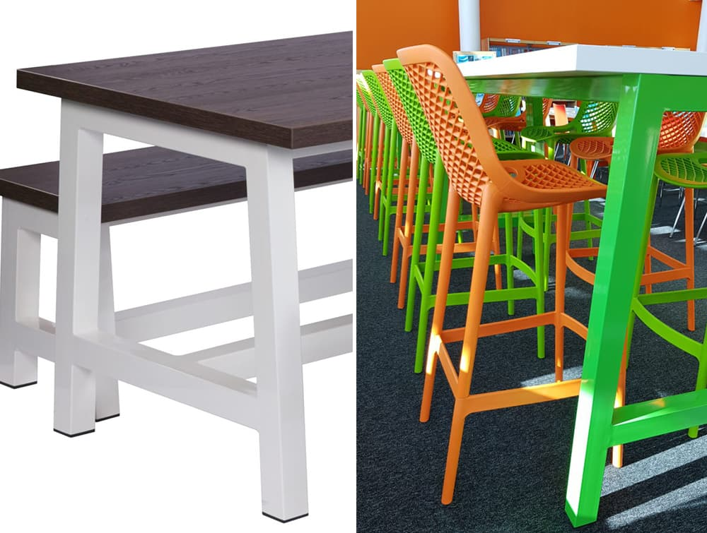 Apex Canteen Tables and Benches Green Orange with Stool