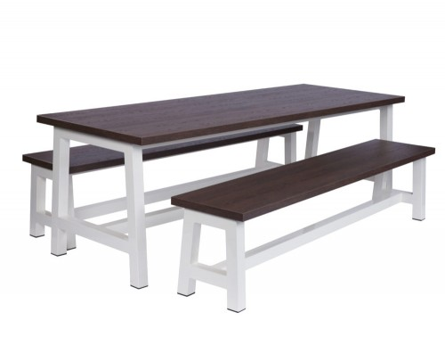 Apex Canteen Tables and Benches in White and Walnut Finishes for Office Kitchen Area
