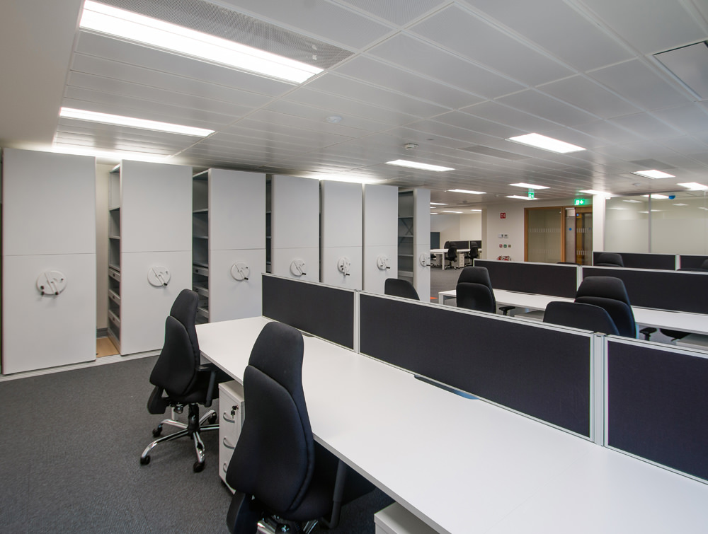 Apex Office Bisley Inner Space Storage Systems with White Desks and Black Office Chairs