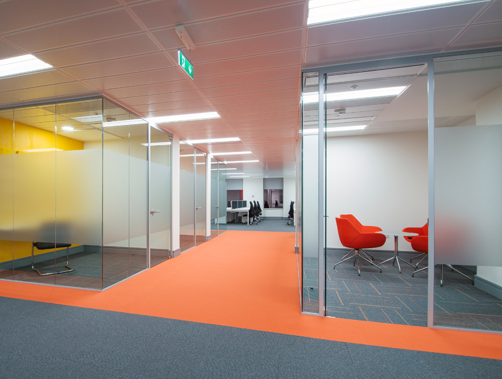 Apex Office Layout Orange Tub Meeting Chairs with Glass Coffee Table in 4 Star Base