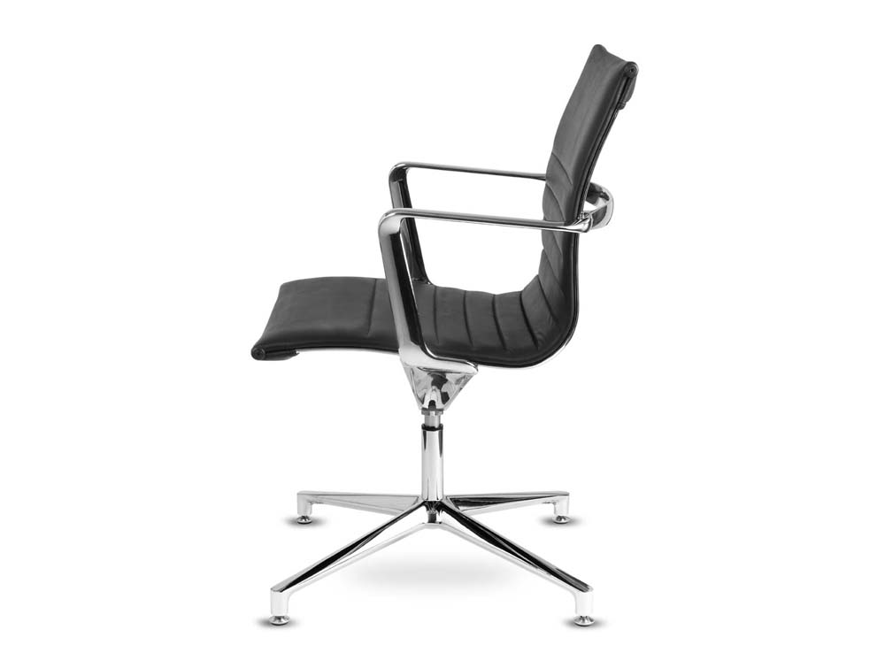 Aquila conference ribbed black leather swivel armchair in low back side view