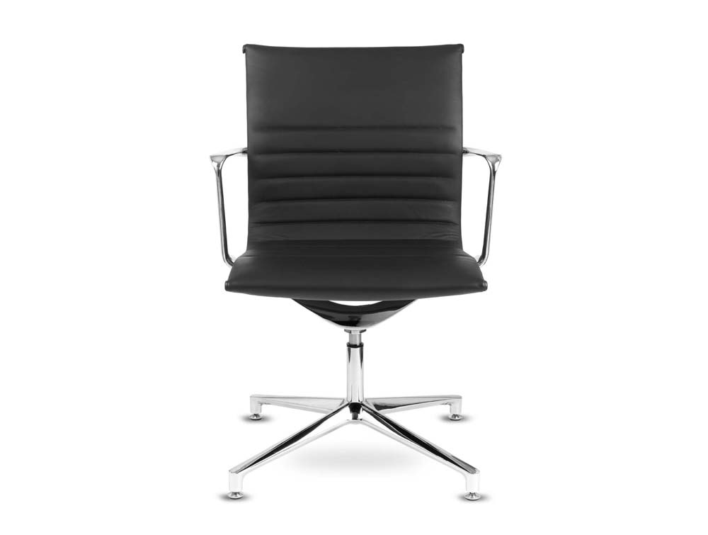 Aquila conference ribbed black leather swivel armchair in low back front view