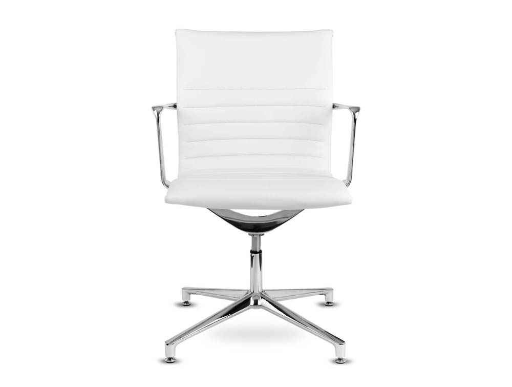 Aquila conference ribbed white leather swivel armchair in low back front view