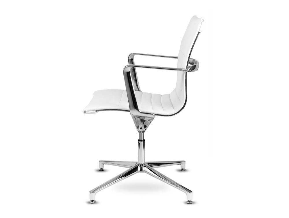 Aquila conference ribbed white leather swivel armchair in low back side view