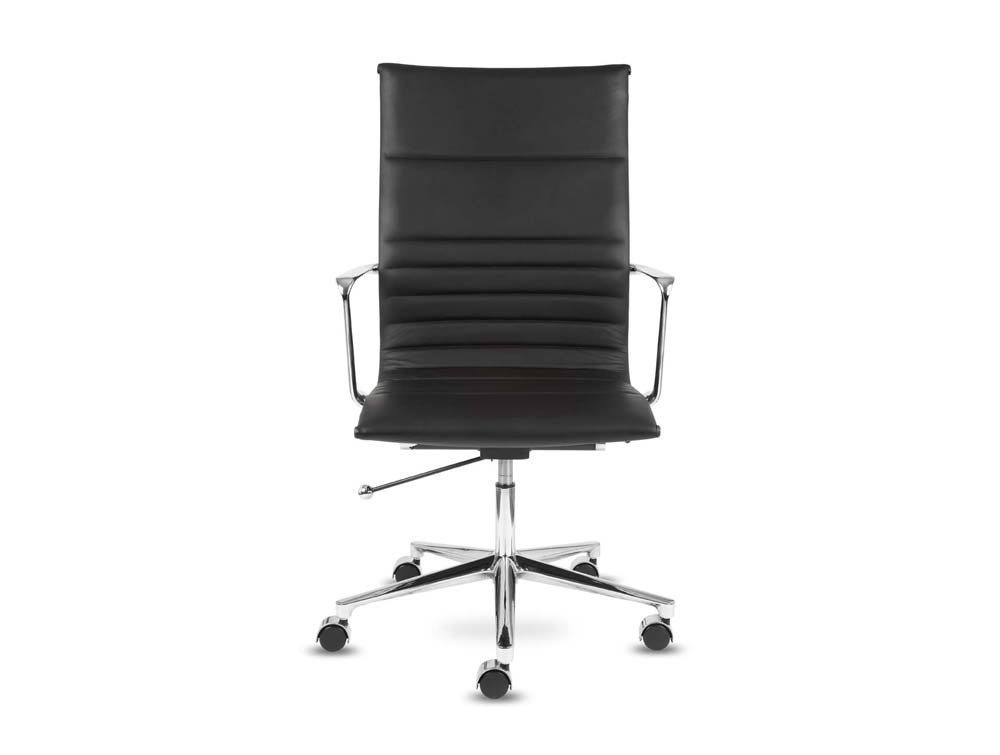 Aquila executive ribbed black leather swivel armchair in high back front view