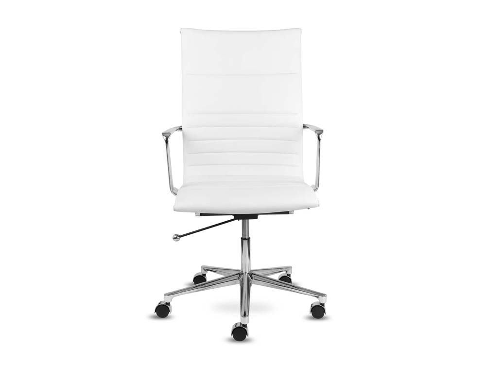 Aquila executive ribbed white leather swivel armchair in high back front view