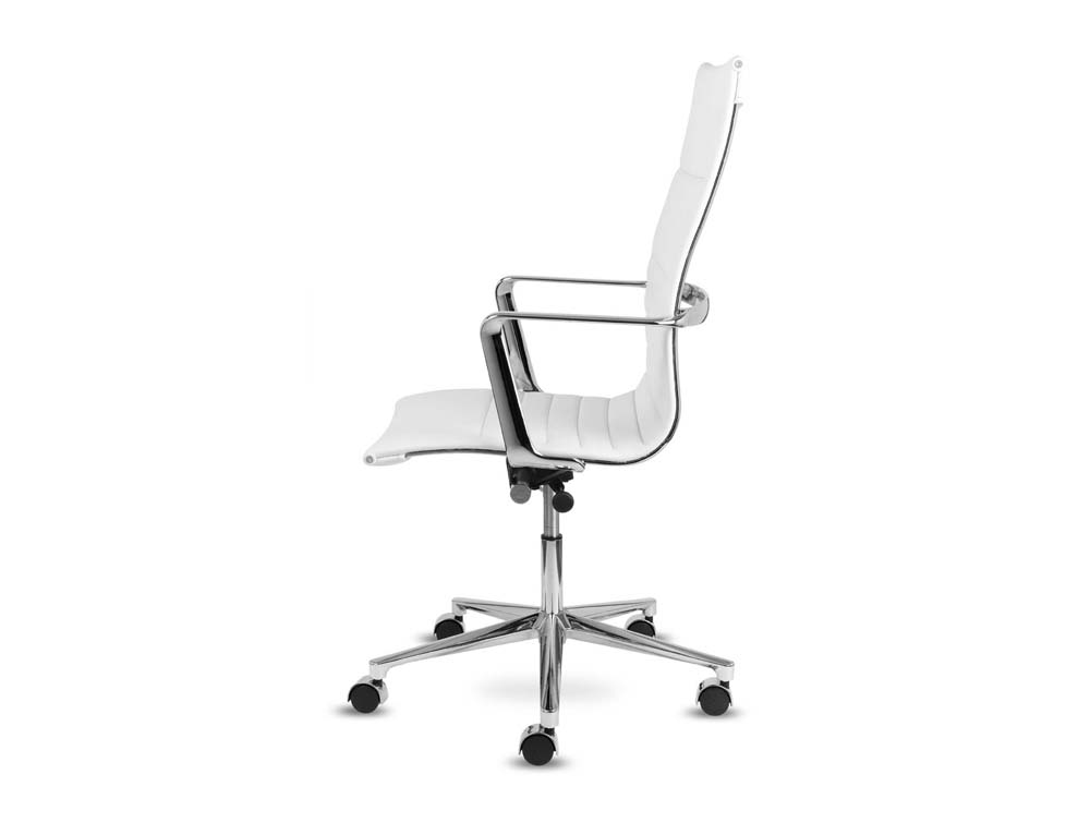 Aquila executive ribbed white leather swivel armchair in high back side view