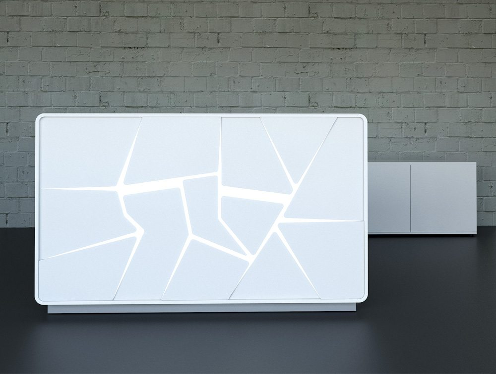 Arctic Summer White Reception Unit with White Light Scene